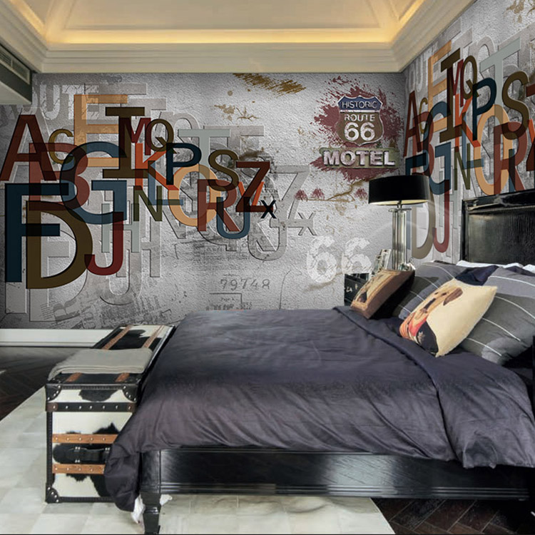 Custom 3d mural 3d solid english letter gray wall for Dining room mural wallpaper