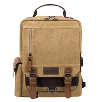 Badiya Vintage Men Backpack USB Charging Connect Luxury Brand Canvas Travel Shoulder Bag Large Capacity Laptop