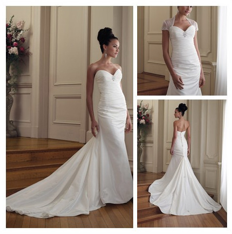 Real Mermaid Tails Wedding Gown White Dress Whit Jacket Dresses With Long Train