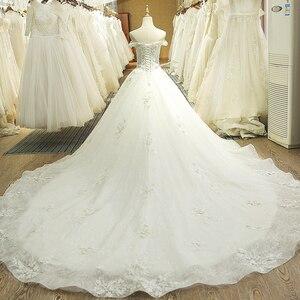 Image 2 - SL 66 תמונה אמיתית 100% בציר יוקרה תחרה כדור שמלת כלה שמלות כלה עם שרוולי aliexpress בתוספת גלימת דה bal noiva vestido
