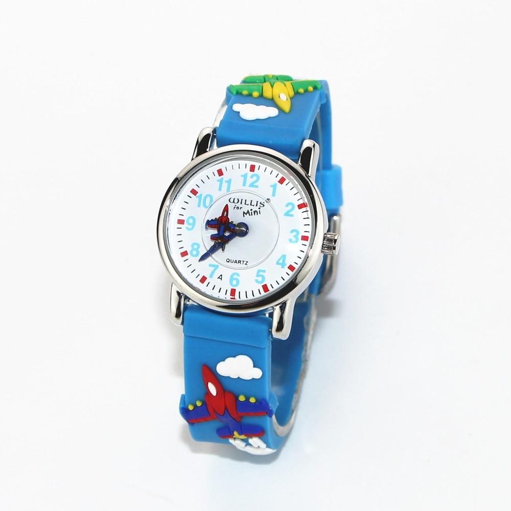 MINI Combat Aircraft Pattern Design Little Girl Children Students Boy Women Wrist 3D Blue Band Watch Waterproof Clock Reloj