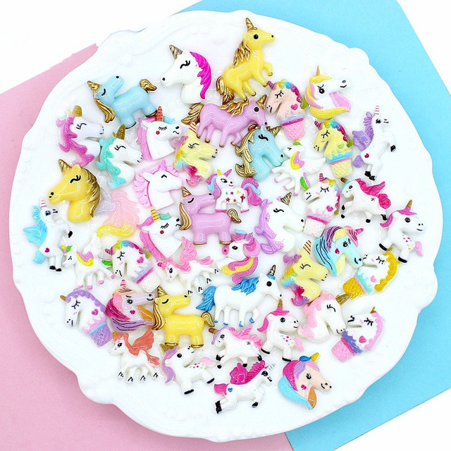 5/10 Pcs Unicorn for Slime Charm Filling Part Kids Pretend Play Decoration Doll Toys