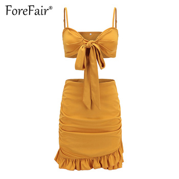 Forefair Red 2 Piece Set Women Summer Skirt Suits Sexy Backless Bow Knot Camisole Vest Bra Crop Top And Ruffles Hem Skirt Sets 3