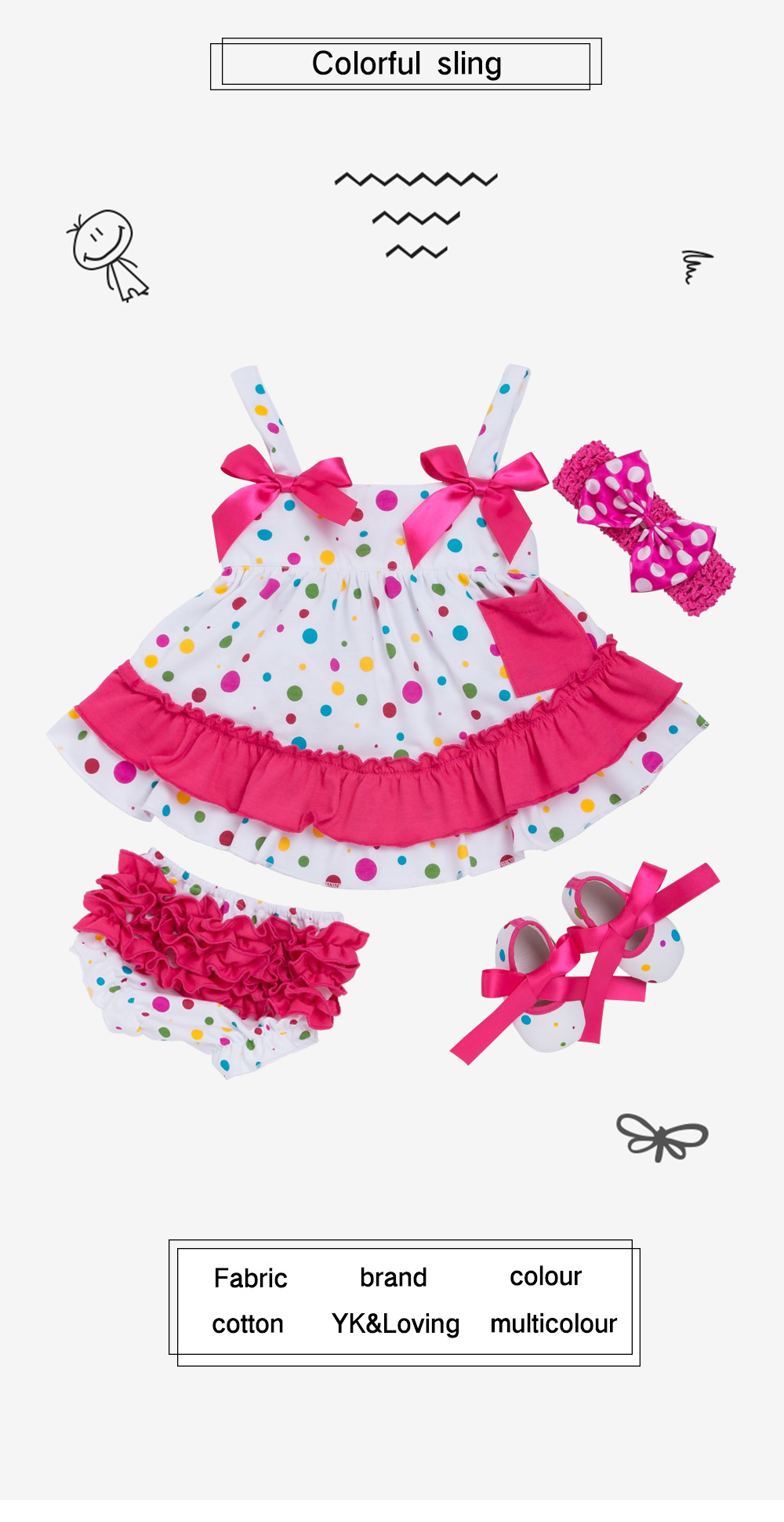 Lovely Beautiful Baby Girl Clothing Set Cotton Dot Rose Red Sling ... e2fc97d24665