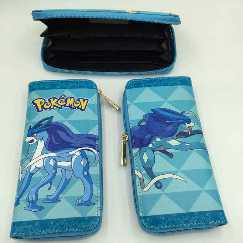 Anime Pocket Monster Suicune Multifunction Long Wallet/Pocket Monster Cell Phone Clutch Purse/Portable Cash Purse(PHWA_20)