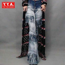 2017 New Fashion Sexy Women's Vintage Chic Bell Bottoms Denim Female Wide Flared Jeans Lace Up Tassel Ladies Long Pants Stretchy
