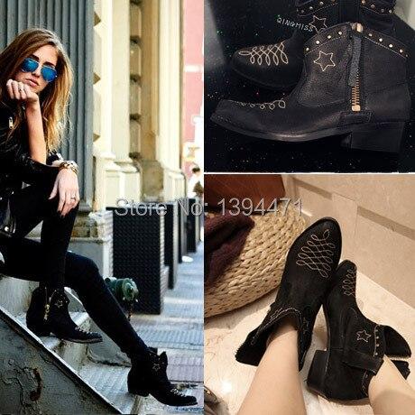 estilo vaquero de moda las botas de cuero para mujer occidental botas botines de cuero negro