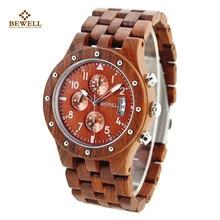 BEWELL Luxus Quarzuhren mit Drei Kleine Zifferblätter Marke Holz Uhr Analog Datumsanzeige Armbanduhr Funktion für Männer 109D