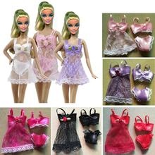 1set 3pcs Dress Bra Underwear Sexy swimwear Lace Night dress For Barbie Doll Pajamas Lingerie clothes