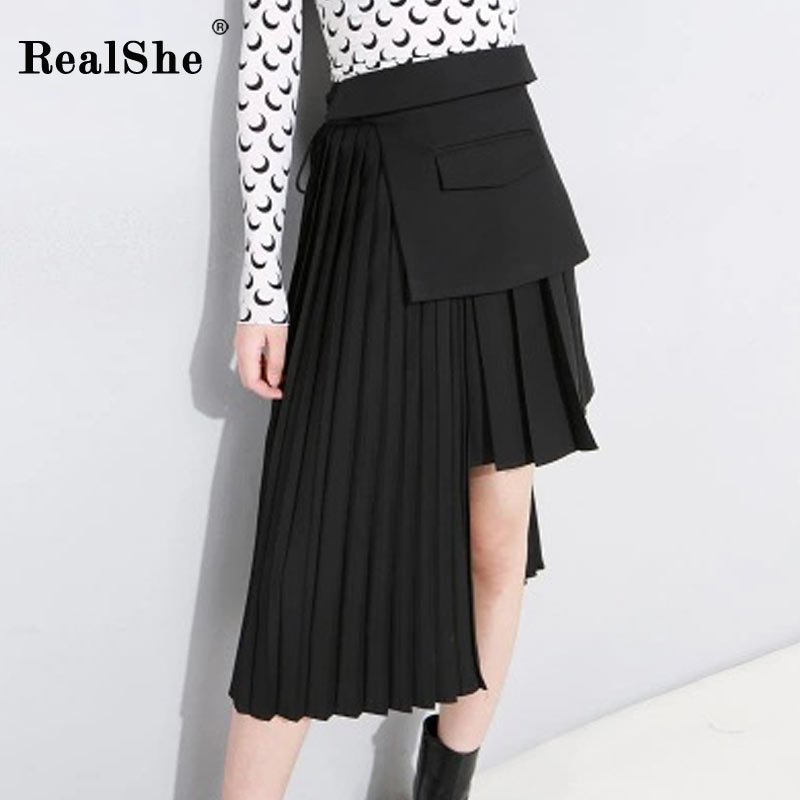 RealShe 2018 Spring and Autumn Skirts Womens Fashion High Waist Asymmetrical Pleated Skirts Pleated Women Skirt Free Shipping