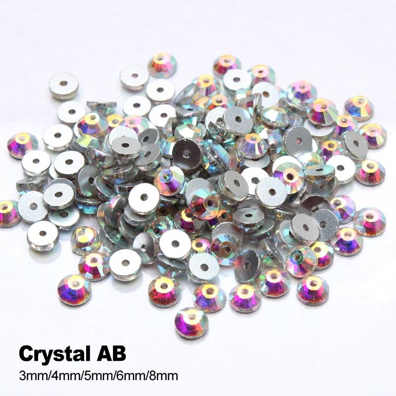 Crystal AB Rhinestone 3mm-8mm midt hull Glassstein for å sy DIY - Kunst, håndverk og sying