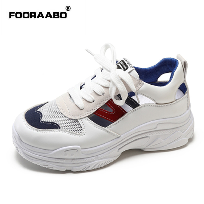 Fooraabo 2018 Fashion Women Casual Shoes Comfortable Summer Platform Shoes Women Sneakers Ladies White Trainers Chaussure Femme