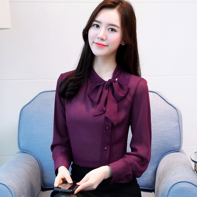 Women Chiffon Long Sleeve Blouses Feminine Bow OL Shirt New Elegant Chiffon Tops 6