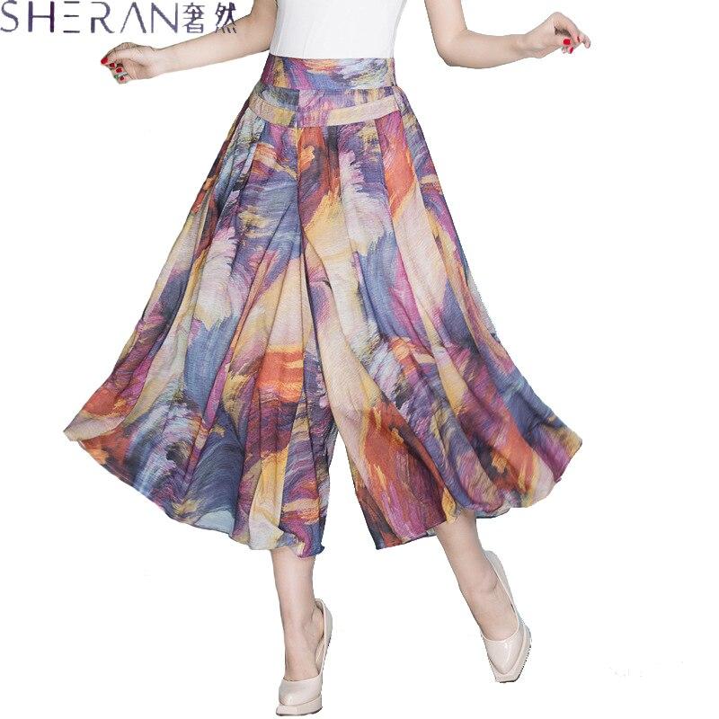 XXXXL Women   Wide     Leg     Pants   Loose Skirt   Pants   2018 Female High Waist Summer   Pants   for women Thin Section Trousers Ladies Clothing