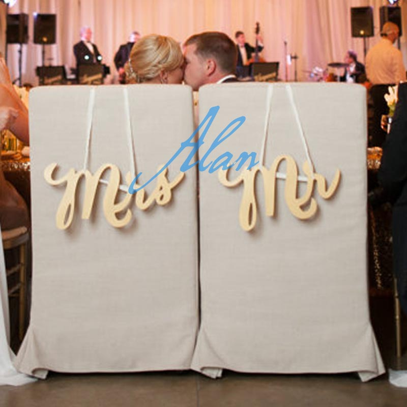 Wedding Chair Signs - Mr & Mrs Signs for Wedding Chairs for Bride and Groom - Hanging Signs Decor