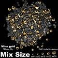 DMC Hotfix Cristal Pedrinhas SS6 SS10 Mina de Ouro Tamanhos Mistos SS16 SS20 SS30 720 pcs Ferro Em Rodada Pedras de Strass DIY jóias