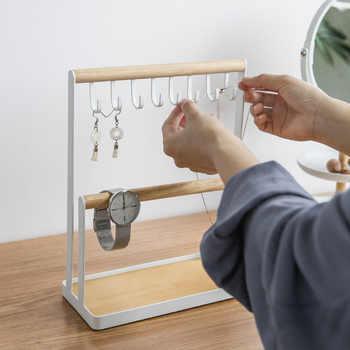 Nordic สไตล์ไม้ชั้นวางห้องน้ำ Rack ต่างหูขาตั้งผู้ถือเครื่องประดับห้องนั่งเล่นตกแต่งชั้นวางของ