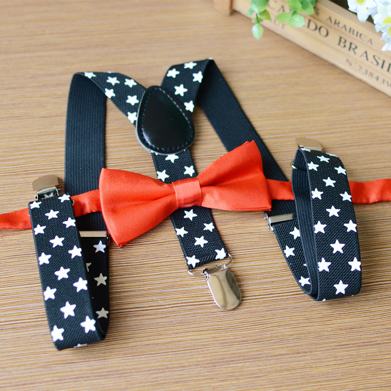 Fashion Print Stars Kids Suspenders Set Y-back Adjustable Elastic Bowtie Braces Students Children Pants Accessories For Boy Girl