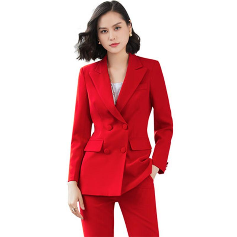 Fashion Suit Suit Female New Large Size Double-breasted Business Suit + Casual Pants Professional Suit Set Two-piece Suit Women