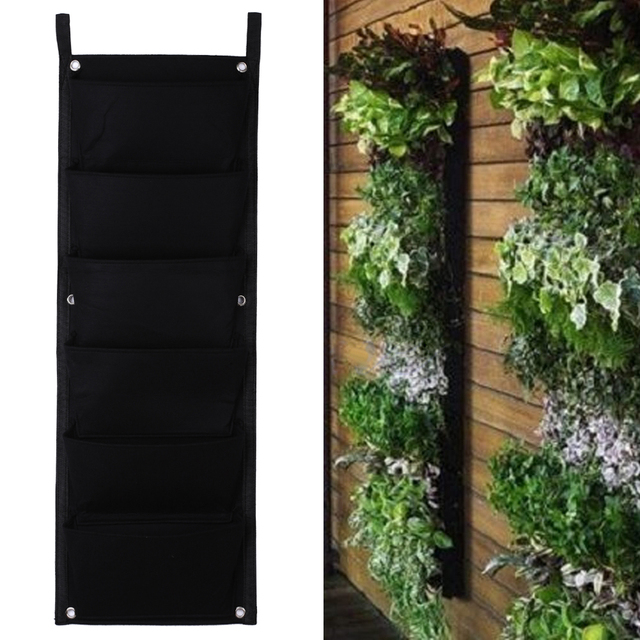 6 Pockets Flower Pots Vertical Planter On Wall Hanging Felt Gardening Plants Pot Indoor Office Green Field Grow Container Bags