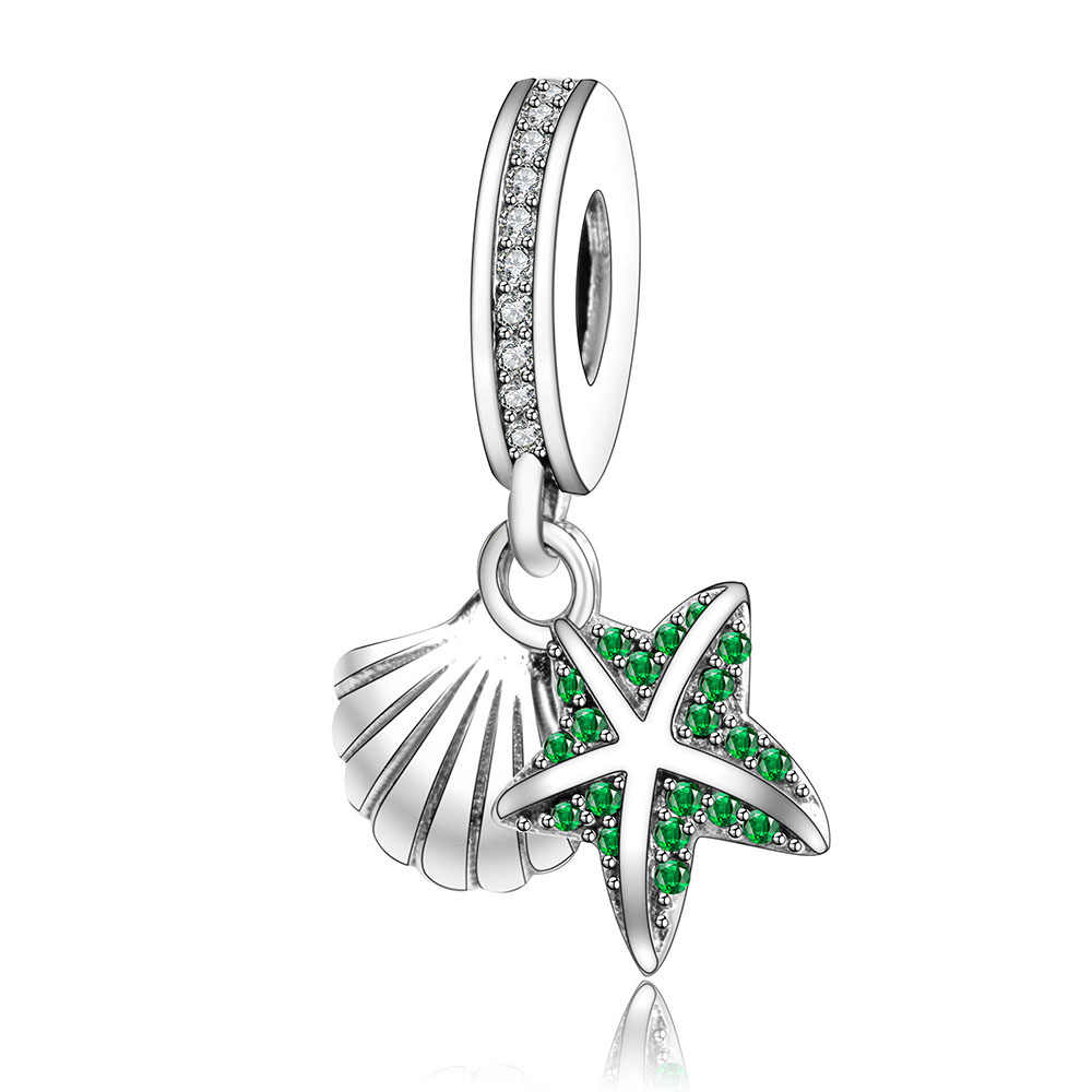 Fit Pandora Original Charm Bracelet Authentic 925 Sterling Silver Beads Tropical Starfish & Sea Shell Pingente Charme DIY Berloque