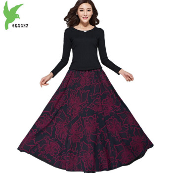 New Women Autumn Winter Woolen Pleated Skirt Fashion Print High waist Skirt Thick Elastic waist Big swing Long Skirts OKXGNZ1586