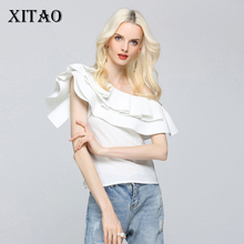 [XITAO] 2017 Europe Fashion New Summer Sexy Style Women Solid Color Sleeveless Patchwork Ruffles Pullover Slim Blouses TXN226