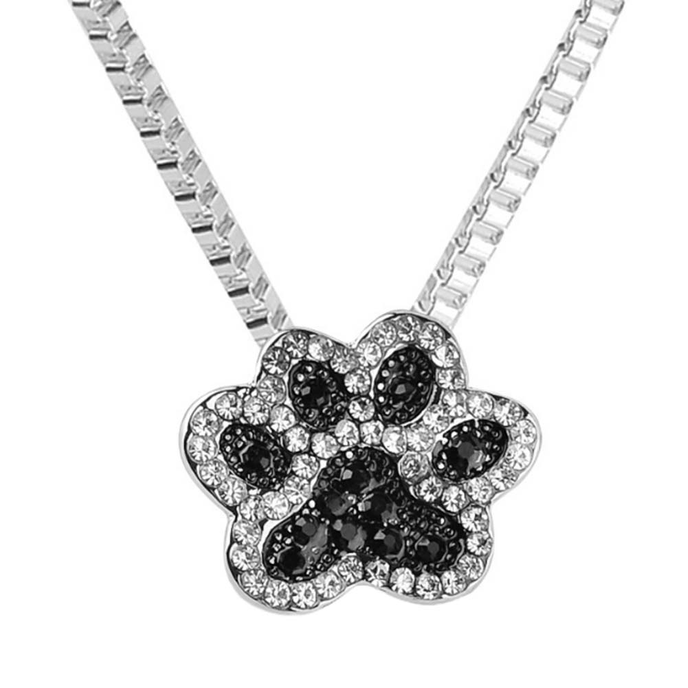 Fashion jewelry Silver plated Black and White crystal rhinestone Dog Paw Pendant Necklace for Women  collier collares
