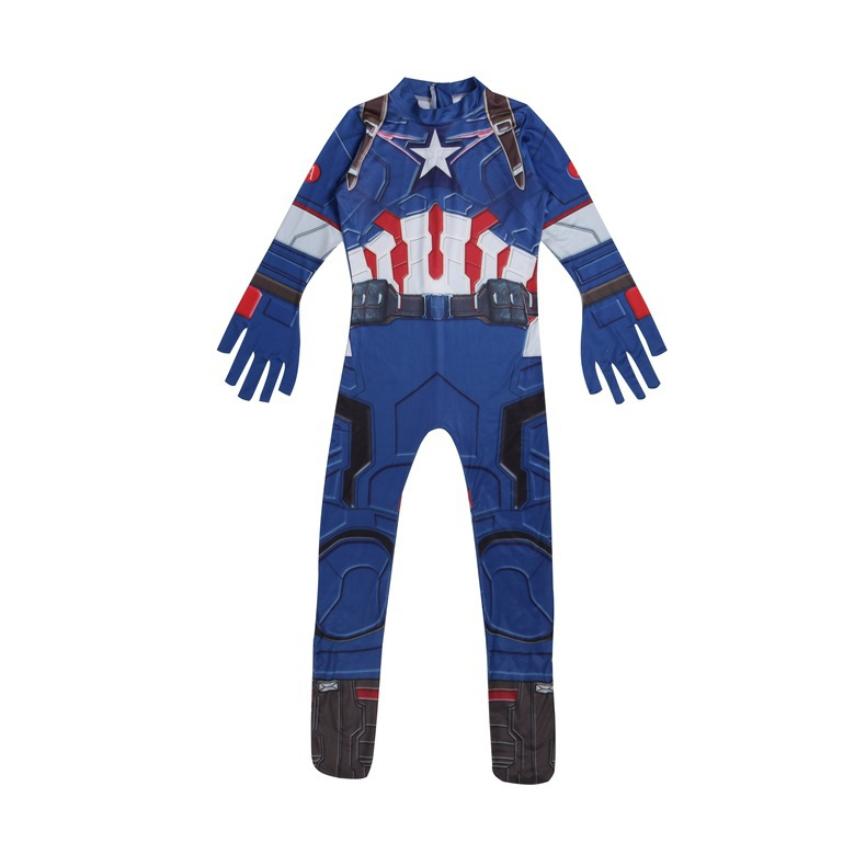 Super Hero Captain America Costume Bodysuit SpiderMan Batman Hulk Avengers Costumes Cosplay for Kids Children Boy