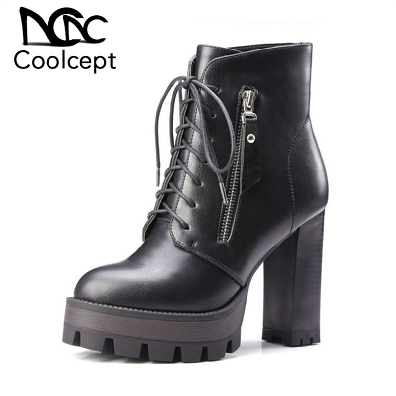 Coolcept Women Boots High Heels Ankle Boots Winter Gothic Platform Motorcycle Boots Lace Up Zip Women