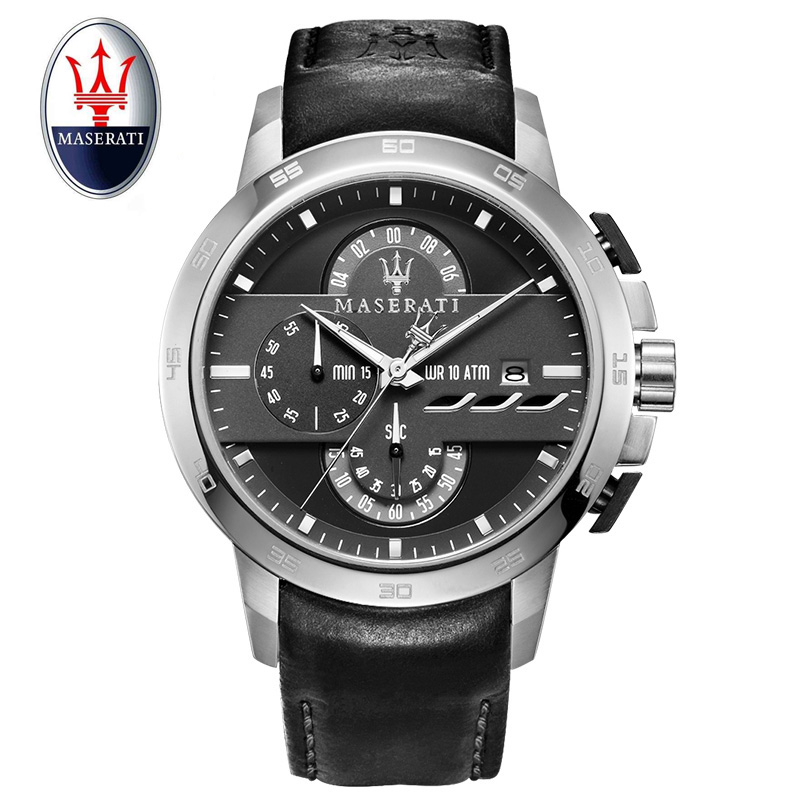 Maserati luxury brand men's watch casual black watch waterproof hollow quartz watch automatic leather sports watch часы maserati