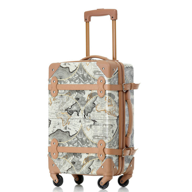 """Women Travel Suitcase Map Pattern Vintage Luggage ABS+PC Universal Wheels Trolley Luggage Travel Bags 18"""" 22"""" Rolling Luggage"""