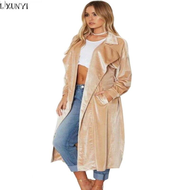 LXUNYI Woman Autumn Coats Elegant Turn Down Collar Long Velvet Coat Women Europe And America Women