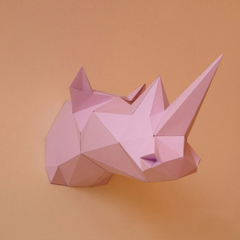 DIY Home Decoration Cute Rhino Paper Model Puzzle Toy Animal Rhino For Restaurants BarsWaterproof Educational Folding Model Toy