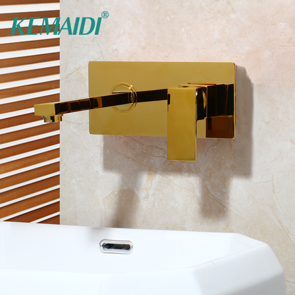 KEMAIDI Gold Finished Chrome Bathtub Faucets Gold Solid Brass Bathroom Faucet Deck Mounted Basin Sink Faucet Mixer TapKEMAIDI Gold Finished Chrome Bathtub Faucets Gold Solid Brass Bathroom Faucet Deck Mounted Basin Sink Faucet Mixer Tap