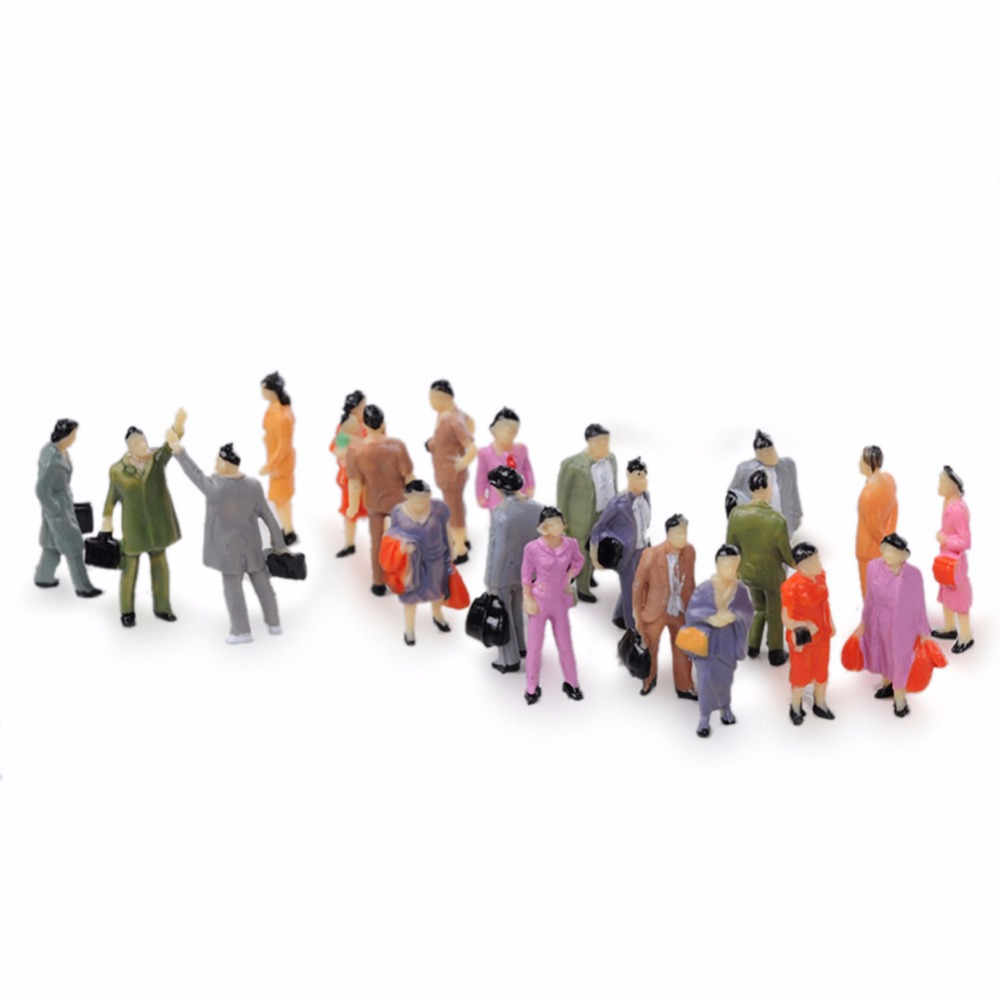100Pcs 1:87 Building Layout Model People Train HO Scale Painted Figure Passenger