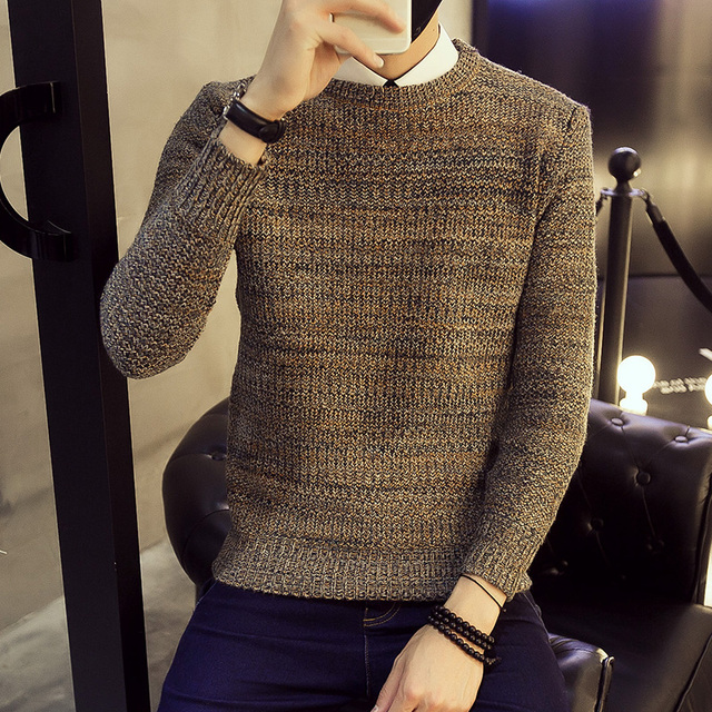 Hot Sale 2016 New Fashion Brand Men's Patchwork Pullovers Computer Knitted Thin wool Casual Knitted sweater Plus size