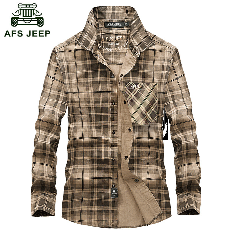 Free shipping AFS Jeep Long Sleeve Shirt Blanket Plaid Shirt Fall Warm Business Men Men Cotton Shirt plus size S 4XL Z75