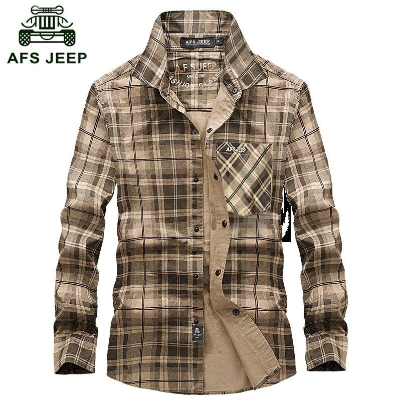Livraison gratuite AFS Jeep Chemise À Manches Longues Couverture Chemise À Carreaux automne Chaud Hommes D'affaires Hommes Coton Chemise plus la taille S-4XL Z75