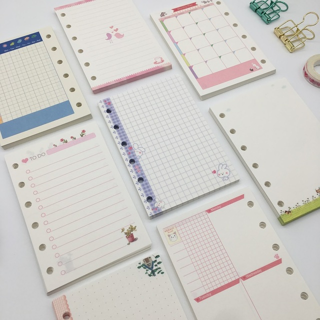 Cute Cartoon A7 Loose Leaf Notebook Notepad Refill, Colored Spiral ...
