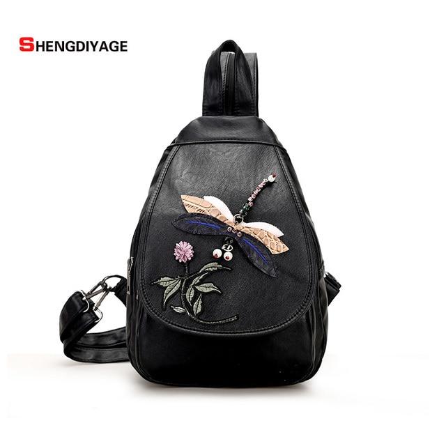 SHENGDIYAGE Chinese style embroidery Women Backpack High Quality PU Leather  Backpacks for Teenage Girls Female school bags 8e14e3a46f