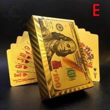 Евро долларов США Стильные водонепроницаемые пластиковые игральные карты Золотая фольга покерная Золотая покерная карта 24K покрытая покерная настольная игра