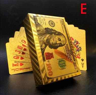 Euro US dollars Style Waterproof Plastic Playing Cards Gold Foil Poker Golden Poker Cards 24K Plated Poker Table Games