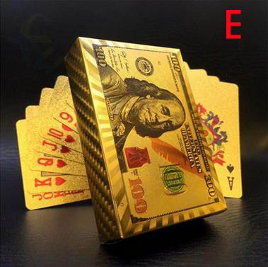 Euro US dollars Style Waterproof Plastic Playing Cards Gold Foil Poker Golden Poker Cards 24K Plated Poker Table Games(China)