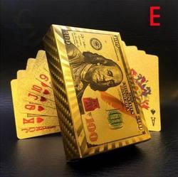 Euro dólares estilo à prova dwaterproof água cartões de jogo de plástico folha de ouro poker ouro cartões de poker 24 k chapeado jogos de mesa de poker