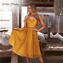 WildPinky Striped Summer Dress Ruffle Peplum Long Women V Neck Backless Sexy Chic Beach Party Vestidos