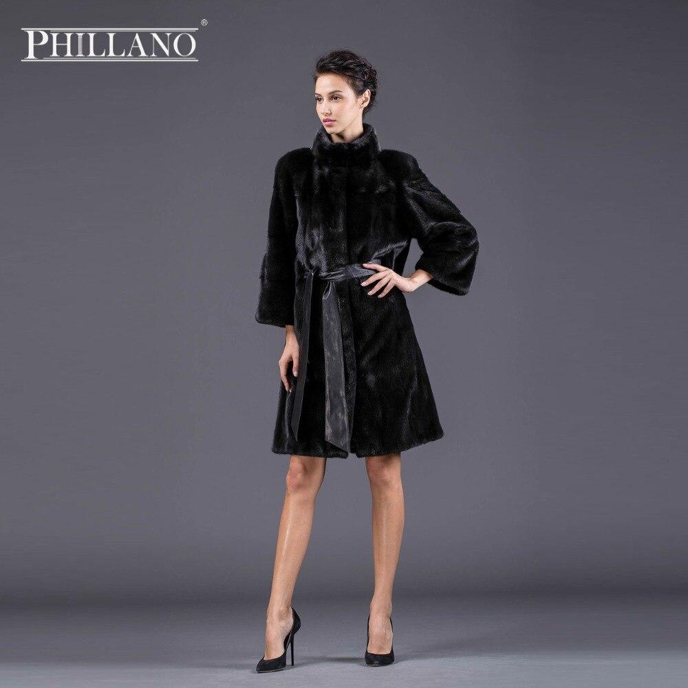 PHILLANO nový styl módní srst přírodní nink stojan límec dobrá kvalita norková srst dámská černá černá skutečná srst