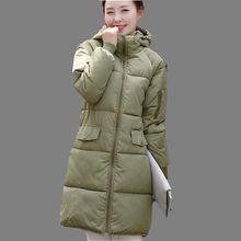 Корея 2016 Зимняя Мода Женщины Пальто Досуг Сыпучих Большой ярдов чистый цвет С Капюшоном Сгущает Теплый Средней Длины Хлопка Пуховик G0238