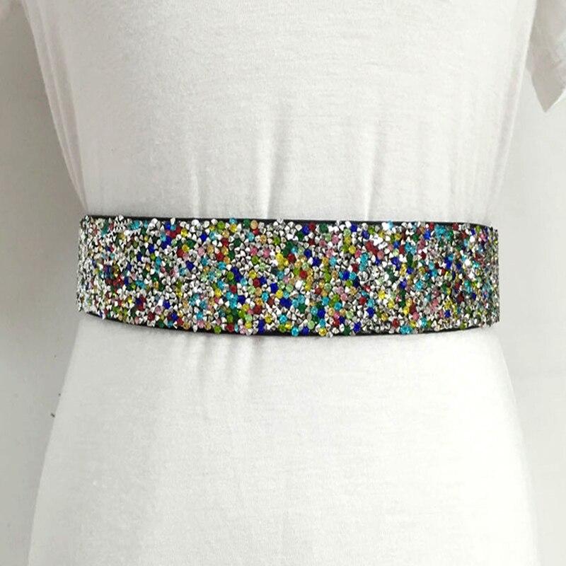 New Fashion Brand Elastic Corset Bride Belts For Women Glass Color Crystal Rhinestone Ladies Wide Inlaid Belt Waist Girdle