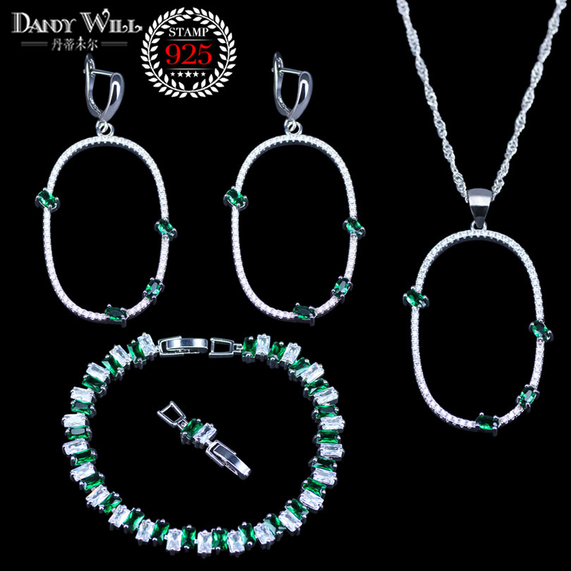 Romantic Spain Style Green Zirconia White Crystal 925 Silver Jewelry Sets For Women Birthday/wedding/party Bracelets Jewelry Driving A Roaring Trade Jewelry & Accessories Wedding & Engagement Jewelry